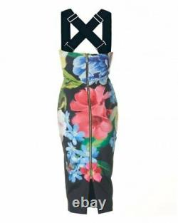 100% genuine TED BAKER black forget me not floral bodycon Midi Dress size 1 bnwt