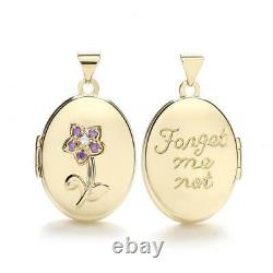 9ct Gold' Forget Me Not' Oval Locket