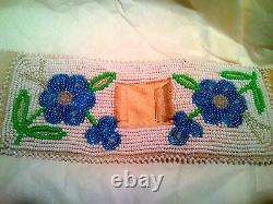 Alaskan Forget-Me-Not leather Beaded Watchband Cuff Native American Indian