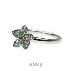 Clogau Silver Ring Size M Blue Topaz Sterling Welsh Rose Gold Forget Me Not 3SFM