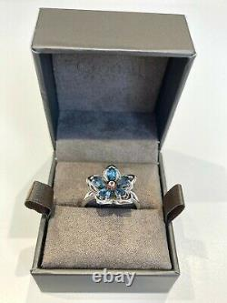 Clogau Sterling Silver & Rose Gold Forget Me Not Blue & White Topaz Ring 3SFMNR