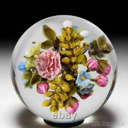David Graeber 2020 all-over rose, yellow spray and forget-me-not bouquet orb
