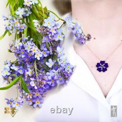 Diamond & Amethyst Women Necklace Armenian Genocide remembrance Forget Me Not