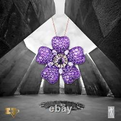 Diamond & Amethyst Women Pendant Armenian Genocide remembrance Forget Me Not