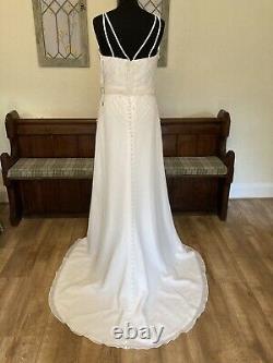 Ex Sample Chloe Jai Forget Me Not Art Deco Sheath Wedding Dress Gown Sz 8 10