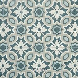 Floral Tile Effect Sheet Vinyl Flooring Cushioned Green Kitchen & Bathroom Lino