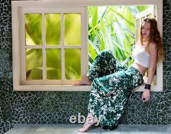 Forget Me Not Maxi Skirt Green Low Waist Flare 100% Linen Summer