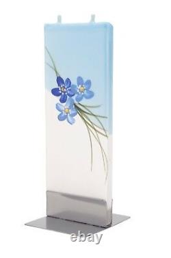 Forget-me-not Blue Flowers, Hand Made Flat Candle, Gift, no drip, no smoke