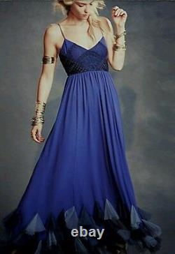 Free People Forget Me Not Chiffon Maxi Dress Blue Sz 10 EXQUISITE $493