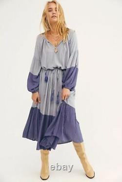 Free People Never Forget Drawstring Blocked Oversized Boho Midi Dress Small S