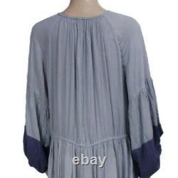 Free People Never Forget Drawstring Blocked Oversized Boho Midi Dress X Small XS