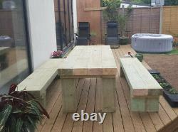 GET READY FOR SUMMER! Contemporary Solid Wooden Sleeper Table + Benches