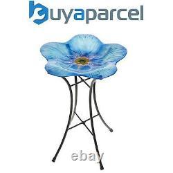 Gardman Forget Me Not Blue Flower Glass Wild Bird Bath Garden Decor A01465