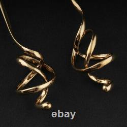 Georg Jensen Gold Earrings # 1241. Forget Me Knot. 18 Carat. Vivianna Torun. NEW