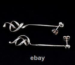 Georg Jensen Sterling Earrings # 241. Silver Forget-Me-Knot. Vivianna Torun. NEW