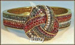 Heidi Daus Forget Me Knot Crystal Bangle Bracelet NWT Sm/Med