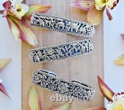 John Hardy JAI Forget Me Not Heirloom Sterling Silver Cuff Bracelet 8 NIB