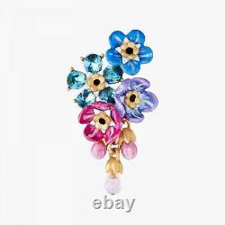 Les Nereides Forget-me-not Cluster and Rosebuds post earrings, Handmade Ohrringe