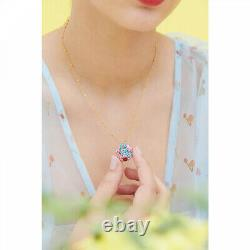 Les Nereides Forget-me-not Rosebud And Ladybird Hidden Secret Medallion Necklace