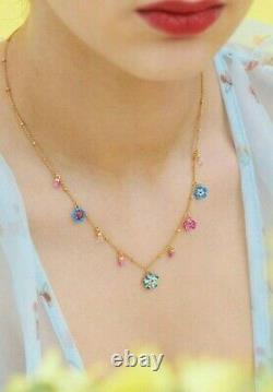 Les Nereides Forget-me-not and Ladybird faceted crystal necklace, Handmade (OVP)
