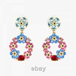 Les Nereides Forget-me-not and Rosebuds circular post earrings, Handmade mit OVP