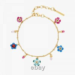 Les Nereides Forget-me-not and ladybird crystal flower Bracelet, Handmade (OVP)