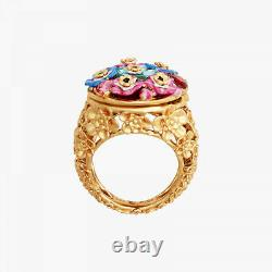 Les Nereides Forget-me-not rosebuds and ladybird hidden secret medallion Ring