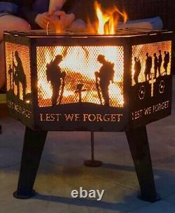 Lest We ForgetSpitfire soldier hexagonal fire pit black finish with grill