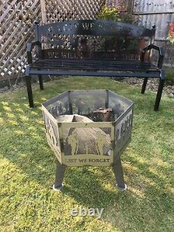 Lest We ForgetSpitfire soldier hexagonal fire pit natural finish with grill