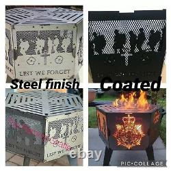 Lest We Forget Military Remembrance Hexagonal firePit, Natural Steel Finish