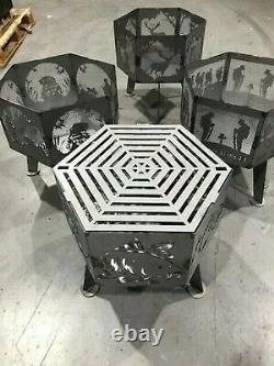 Lest We Forget Military Remembrance Hexagonal fire Pit With Black Finish