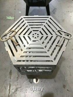 Lest We Forget Naval hexagonal fire pit natural finish with grill
