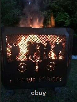 Lest We Forget Parachute Regiment Hexagonal fire Pit With Natural Steel Finish