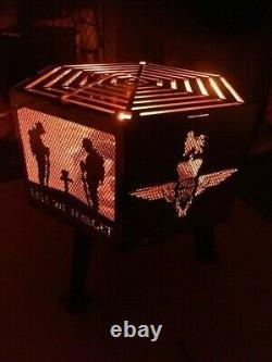 Lest We Forget Parachute Regiment hexagonal fire pit
