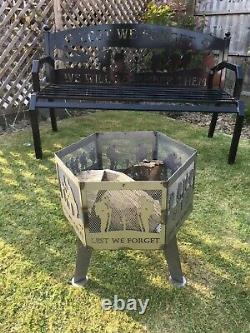 Lest We Forget Royal Green Jackets Hexagonal firePit With Natural Steel Finish