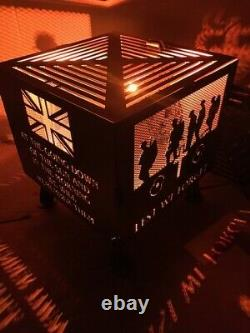 Lest We Forget Royal Marines square fire pit natural finish with grill
