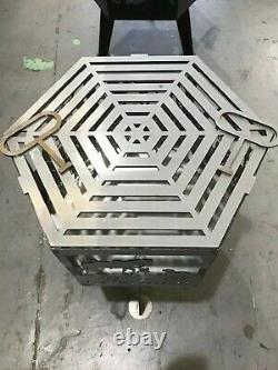 Lest We Forget Spitfire Hexagonal fire Pit With Natural Steel Finish