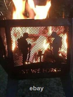 Lest We Forget Submarine Service Hexagonal fire Pit With Black Finish