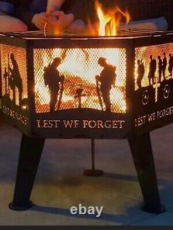 Lest We Forget Submarine Service Hexagonal fire Pit With Natural Steel Finish