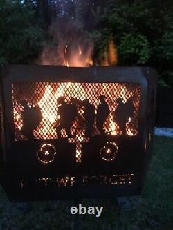 Lest We Forget WELSH mix hexagonal fire pit black finish with grill