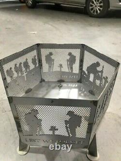 Lest We Forget soldier hexagonal fire pit natural finish