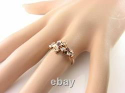 Lush 9k 9ct Rose Gold Pink Tourmaline Opal Art Deco Ins Forget Me Not Ring