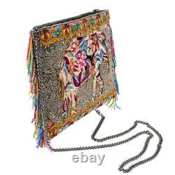 Mary Frances Forget Me Not Beaded Elephant Crossbody Handbag
