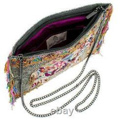 Mary Frances Forget Me Not Vibrant Beaded Elephant Crossbody Clutch Handbag NWT