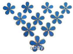 Masonic Set Of 10 Flower Forget Me Not 11mm Enamel Lapel Pin Badge