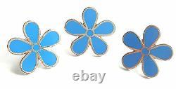 Masonic Set Of 3 Flower Forget Me Not 11mm Enamel Lapel Pin Badge