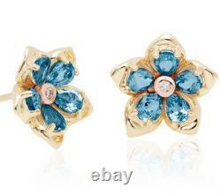 NEW 9ct gold Clogau Forget me Not Blue Topaz set Flower Earrings FMNE £720