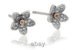 NEW Welsh Clogau Silver & Rose Gold Forget Me Not Stud Earrings £85 OFF