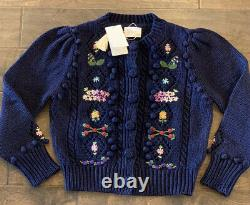 NWT Dôen Doen Forget Me Not Sweater Navy Small S