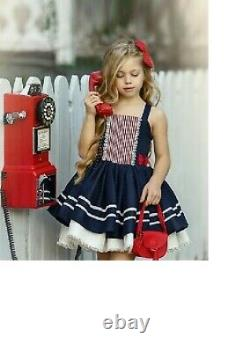 New Dollcake Forget Me Not Navy Red Bow Dress Size 7 Birthday Special occasions
